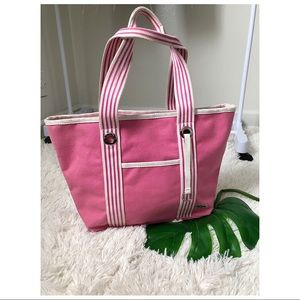 Lacoste- pink canvas beach tote bag 🌻